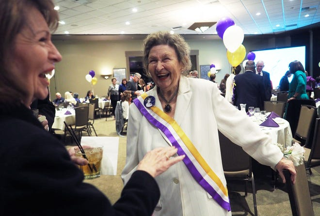 2019 Stocktonian of the Year Beverly Fitch McCarthy was kept busy greeting old and new friends last February at a banquet in her honor attended by more than 300 people. She wore the purple-white-and-gold sash to recognize the 100th anniversary of the 19th Amendment giving women the right to vote.