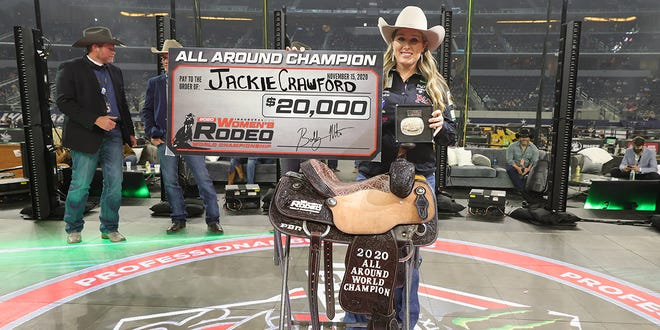 Legendary cowgirl Jackie Crawford of Stephenville earned the first-ever Women's Rodeo World Champion All-Around Cowgirl title.