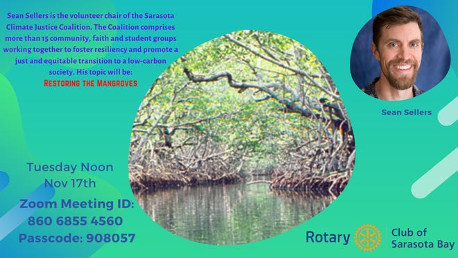 Sean Sellers will speak on mangrove restoration Nov. 17, 2020.