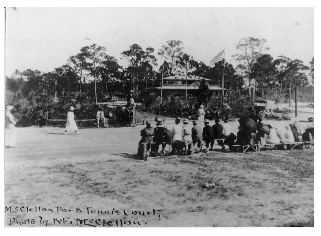 Ladies playing tennis at the grand opening of McClellan Park. The building in the background was used by the McClellan sisters as a tea room. Later this became McClellan Park School. (Courtesy photo / Jeff LaHurd)