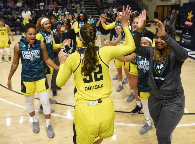 UNCW's Carol-Anne Obusek is introduced prior to the 2019 home opener against South Carolina State at Trask Coliseum in Wilmington, N.C., Saturday, November 16, 2019.   [MATT BORN/STARNEWS]
