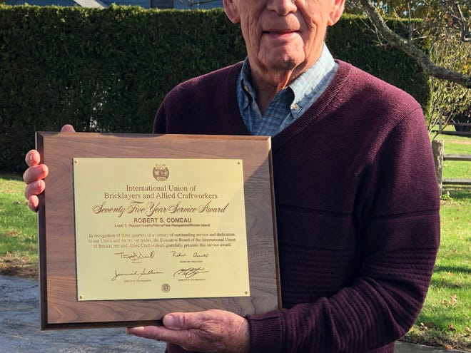 Robert Comeau with his citation from the bricklayers union