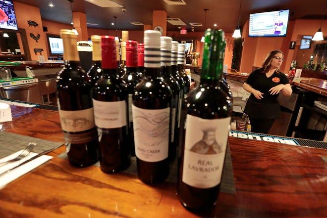 Wine bottles at David's Restaurant on Church Street in New Bedford.