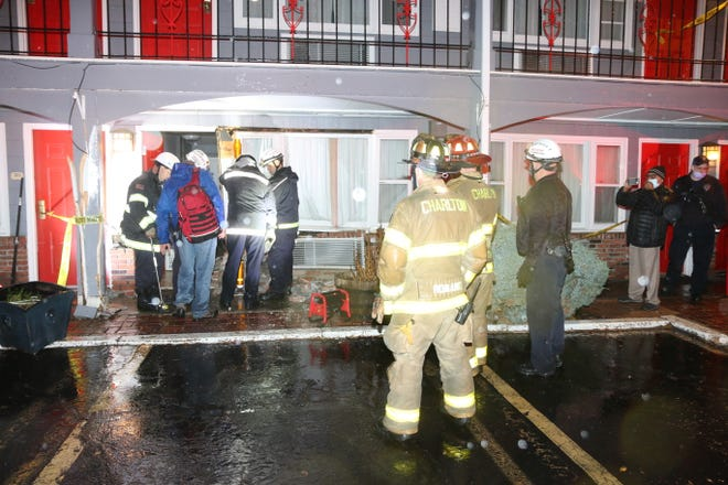 A pickup truck crashed into the Super 8 by Wyndham motel at 358 Main St. on Sunday night.