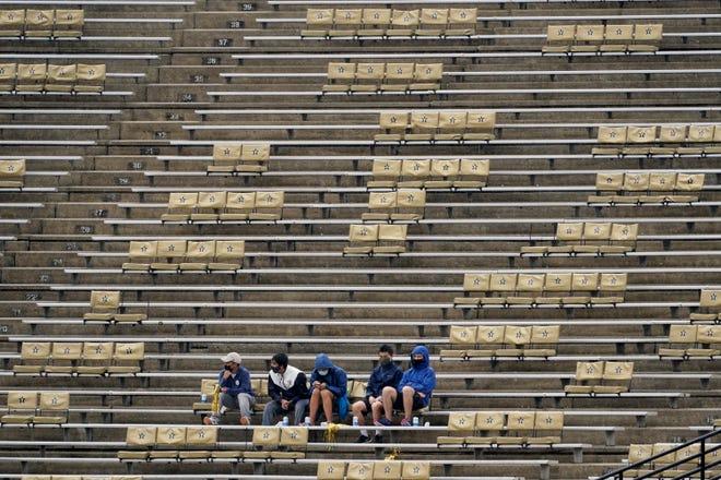 Vanderbilt students watch the first half of the game between Vanderbilt and South Carolina on Oct. 10 in Nashville, Tenn.