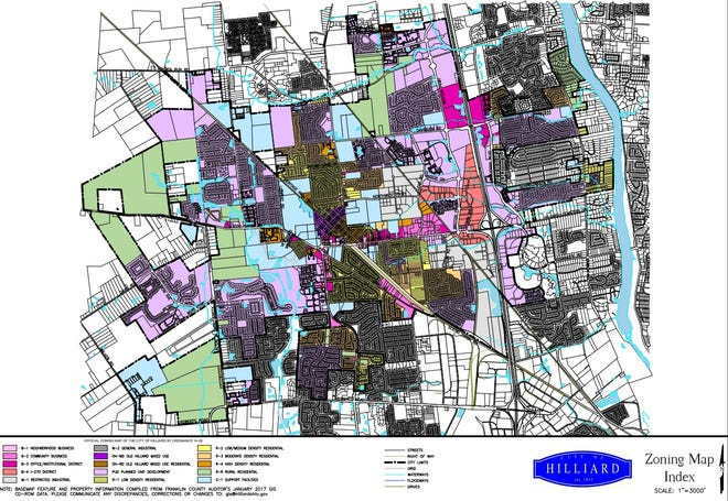This is Hilliard's zoning-map index.