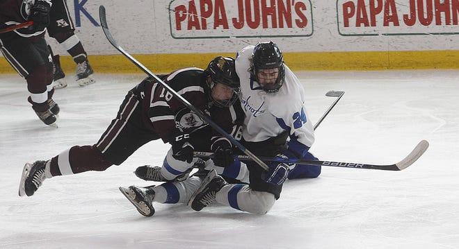 Senior forward Zach Blaney (left) is among the top returnees for the New Albany hockey team, which will play this season with a smaller roster after winning its first district championship last winter.