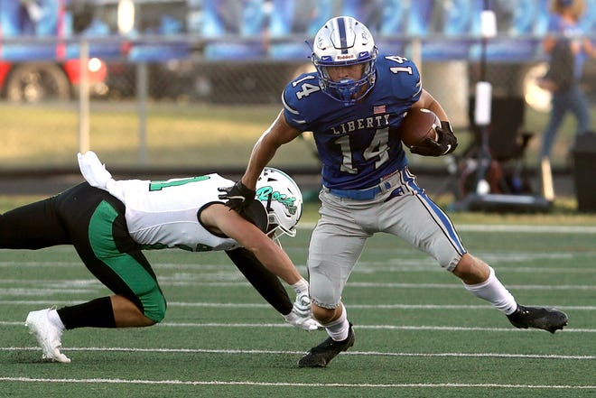 Aidan Kenley, one of 30 seniors for the Patriots, was OCC-Central co-Player of the Year after rushing for 1,038 yards and 17 touchdowns. He also had 27 receptions for 295 yards and one score.