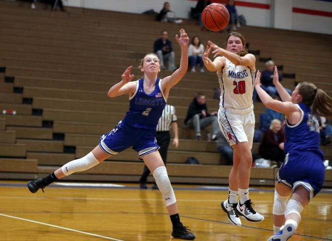 Seniors Caitlin Splain (left) and Sarah Balliett (right) are among the top returnees for a new-look Liberty girls basketball team. The Patriots are now coached by Tom Waterwash, who succeeded Sam Krafty after a six-season stretch in which they went 111-42.