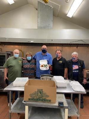 Veterans of Foreign Wars Post 1822 hosted a Meals for Veterans Day last week. From left are Vietnam veteran Brian Sullivan, Plymouth Veterans Agent Roxanne Whitbeck, columnist and actor Wayne Soares, VFW Commander Denis Russell and VFW Vice Commander Michael Bartnowski.