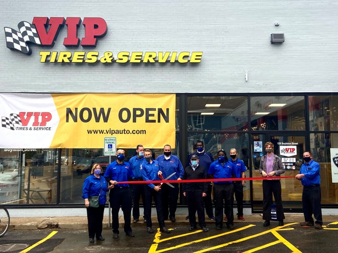 The Brookline Chamber of Commerce announced that VIP Tires and Service recently opened in Brookline. Pictured are Lynn Campbell; Jovani LeJeune; Greg Bagley; Tim Winkeler; Rob Kaffel; John Van Scoyoc, Brookline select board member; Leroy Campbell; Tevin Little; Siu (Bo) Dip; and Klara Kaufman, Brookline Chamber of Commerce.