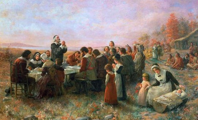 "Jennie Augusta Brownscombe's 1914 painting depicting ""The First Thanksgiving."""