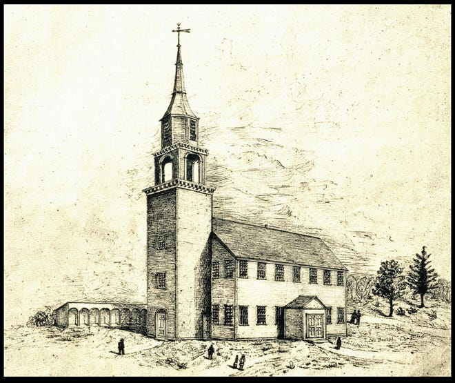 The Second (1774) Meeting House, as it looked after the addition of the steeple to the west façade in 1811.  Prior to the steeple, the Second Meeting House was nearly identical to the First Meeting House.  The steeple made the structure unbalanced, and the church had to be taken down and rebuilt in 1836.  Sketch by Timothy Newell Smith, c. 1862.