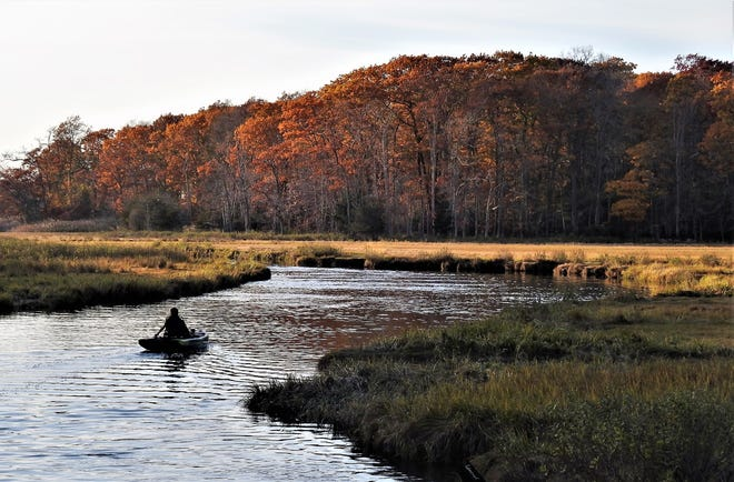 The serenity and beauty of a summer-like November day is captured along the Gulf River in Scituate.