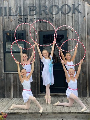 Candy Canes and Clara on location at Millbrook Farms in Duxbury. Pictured from left, back row: Khloe Amonte, age 10, of Kingston; Julia Wessler as Clara, age 11, of Rockland; and Lilian Chamberlain, age 10, of Hingham. Front row: Isabelle Ferland, age 10, of Duxbury; and Julia Fine, age 10, of Duxbury.