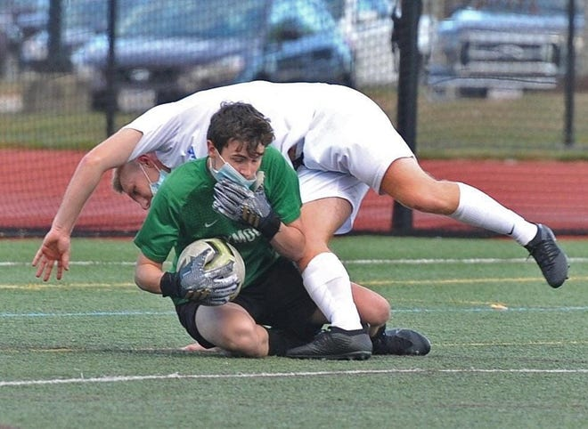 """Strong goaltending by Wildcats senior Aaron Cassidy helped his team's resiliency during a """"bubble schedule,"""" created by the Bay State Conference in response to the coronavirus pandemic challenges."""