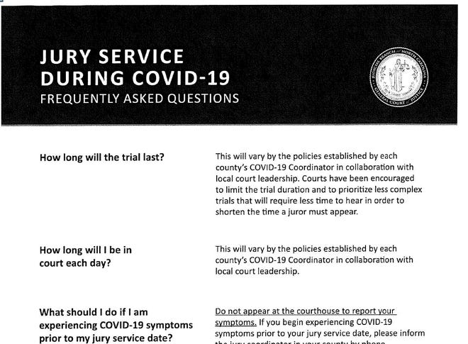 Buncombe County is sending out jury notices for December, but numerous safeguards and precautions will be in place.