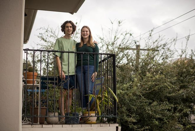 From left, Thomas Hobohm, and his sister Shelby, have been quarantining at their West Campus apartment near the University of Texas at Austin for two weeks to mitigate the spread of COVID-19. Shortly after, they plan on visiting their family for Thanksgiving in North Texas. Nov. 14, 2020.