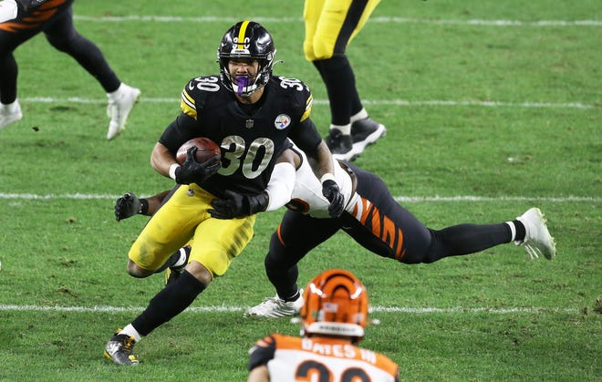 Pittsburgh running back James Conner cracked the 100-yard barrier three times early in the season, but is averaging only 46.7 yards per game in the last month.