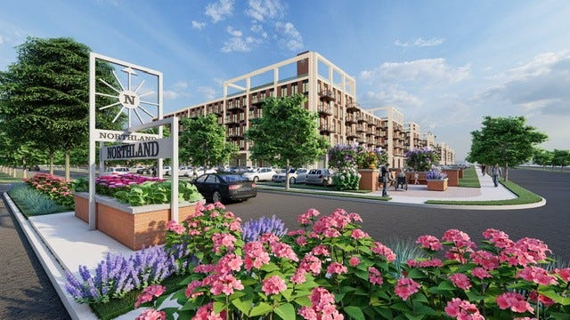 Development plan illustrations for Northland mall