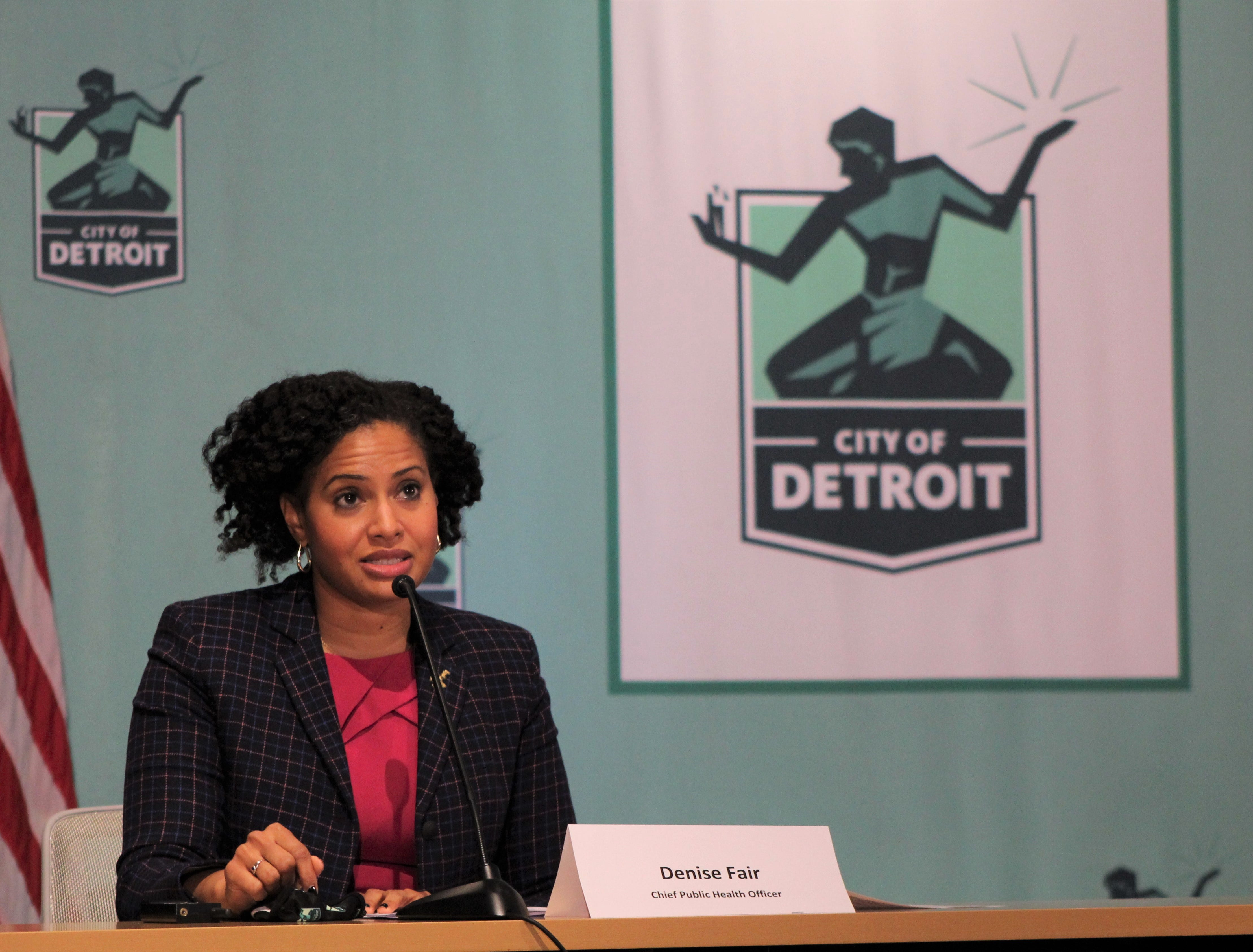 Detroit Chief Public Health Officer Denise Fair speaks at a press conference about new COVID-19 measures on Monday, November 16, 2020.