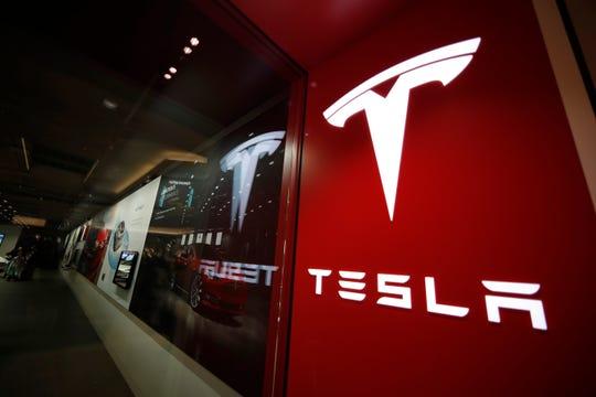 A Tesla store in Cherry Creek Mall in Denver.