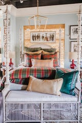 One of my favorite beds upstairs right now is the Glenfiddich Plaid duvet with its stunning red, green and yellow pattern.