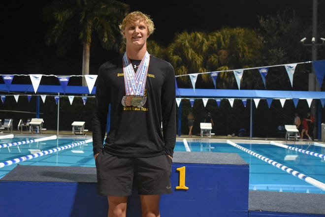 Bishop Verot senior Conor Cranfield won the 500-yard freestyle for the second consecutive year at the Class 1A state swimming championships in Stuart on Sunday. Cranfield also finished sixth in the 200 free and swam on a pair of top-five relay teams.