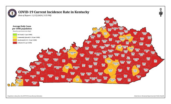 COVID-19 current incidence rate map for Kentucky as of Sunday, Nov. 15.