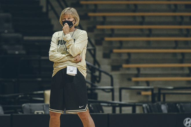 Purdue women's basketball coach Sharon Versyp watches a preseason practice