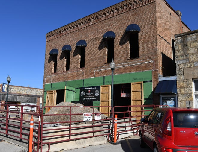 The front of the Baker Building in downtown Mountain Home is seen Monday afternoon. The historic building, which is currently being renovated into the future home of Rapp's Barren Brewing Company, will feature a covered balcony extending over the city's sidewalk.