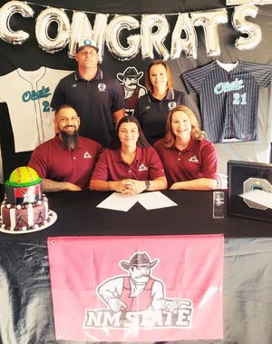 Oñate softball standout Kiara Armendarez signed to continue her career at New Mexico State.