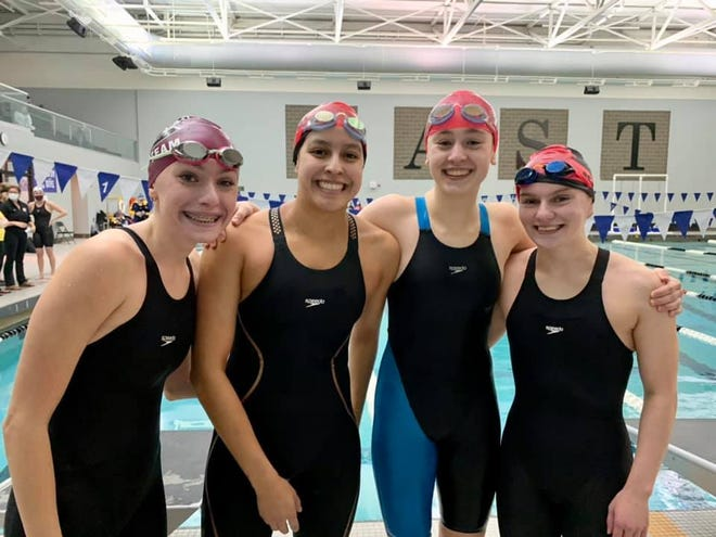 South Lyon East's Kayla Kosior, Maria Mayorga, Amanda Lees and Abby Seybert  qualified to swim the 200 Medley Relay and the 200 Free Relay at the state meet.