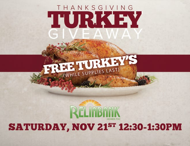 Reliabank will celebrate its 100th anniversary by giving away nearly 700 turkeys Saturday.