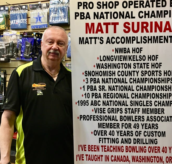 Matt Surina is a former PBA (Professional Bowler's Tour) touring pro who now runs the pro shop at the Virgin River Bowling Center in Mesquite.