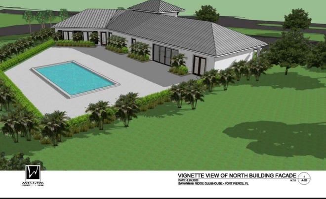 Yes Sandhill Exp, LLC, and Representative Lucido & Associates will develop 202 home at 3030 South U.S. Highway 1 in Fort Pierce. This rendering shows amenities included at the mobile park clubhouse such as a pool.