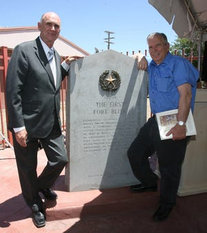 El Paso Mayor John Cook and historian Leon Metz stand by the new marker that marks the site of the original location of the old Fort Bliss at the intersection of Eucalyptus and Magoffin Avenues. May 11, 2009