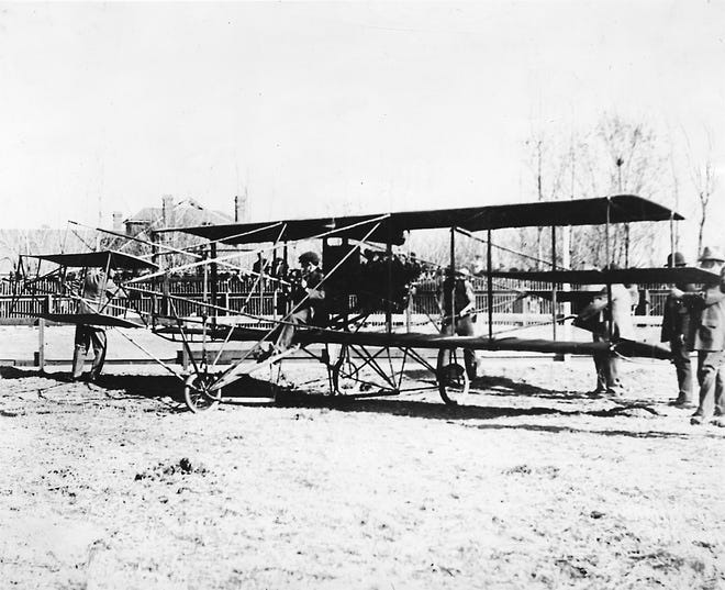 """Feb. 22-25, 1910, El Paso: Charles K. Hamilton, first person to fly """"heavier-than-air"""" craft in El Paso, gets ready for a takeoff run from the Washington Park racetrack. The first flight on Feb. 22 was aborted due to insufficient engine power, but the second flight was a huge success. This plane is a Curtiss Canard Risher."""