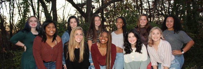 Kalani Flores (back row, from left), Ozlem Akilli, Megan Hallenbeck, Alaysia Coursey, Aurora Ryan, Kayla Biauce, and Mackenzie Moore (front row, from left), Emily Thompson, Johnay Ball, Kelsea Martinez and Taylor Hastings, along with Paige Risley, who is not pictured, are the contestants for this year's Miss Holly City Contest at Millville High School.