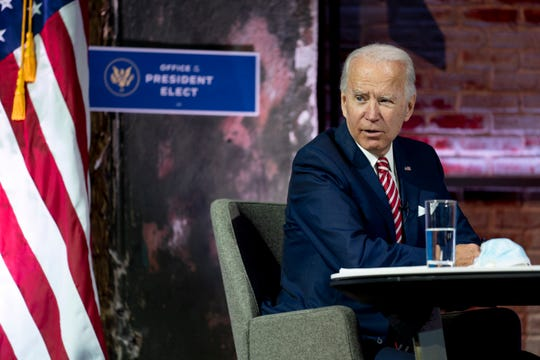 President-elect Joe Biden speaks during a briefing on the economy at The Queen theater Nov. 16, 2020, in Wilmington, Del.