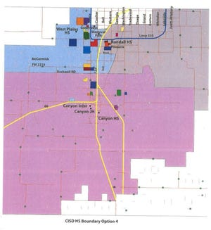 New High School Boundaries approved by the Canyon ISD Board of Education during Monday evening's regular meeting.