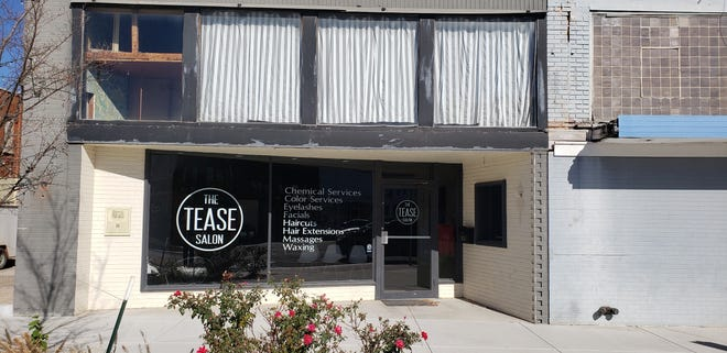 The Tease Salon was recently awarded a $5,000 facade grant from the City of Ardmore. Plans include removing all the wood and glass and reframing the windows with metal. Brickwork above the new windows and the new metal framing will be painted black.