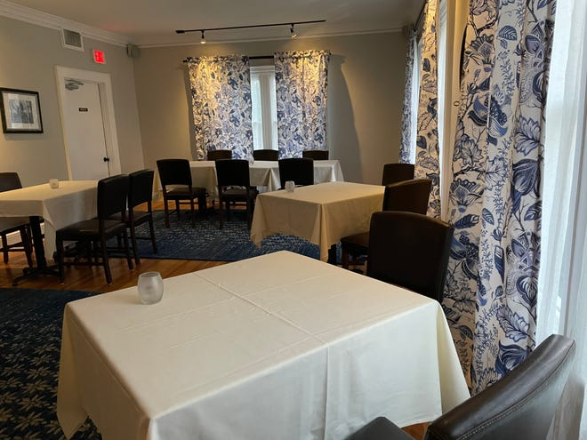 One of three small formal dining rooms at The Barley Neck Inn in Orleans.