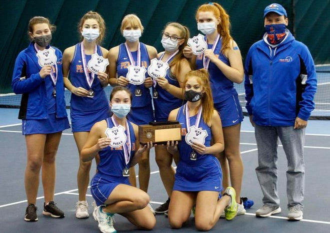Team members pose for a photo after winning this year's Section V Class B2 title.