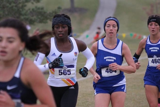 Lake-Sumter State College's Kyja Williams (bib number 565) competes in Saturday's NJCAA Division II women's national championships in Fort Dodge, Iowa.  [COURTESY/LSSC]