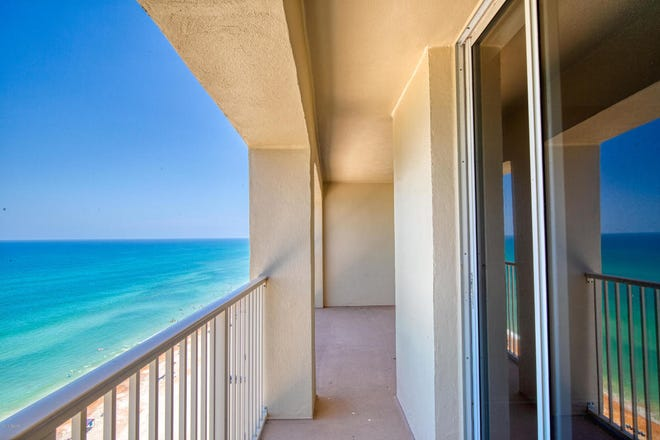 Phenomenal views abound from this completely remodeled 16th-floor condominium at 89 Oceanfront. The living room features sliding doors that lead to the balcony, and one of the masters  is graced with an ample-sized balcony.