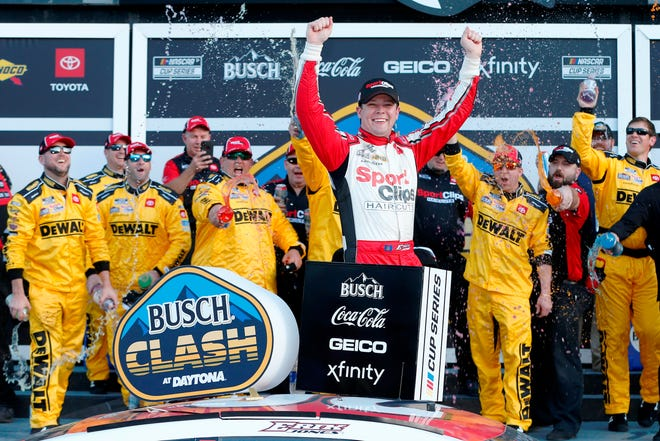Erik Jones celebrates this year's Busch Clash at Daytona.
