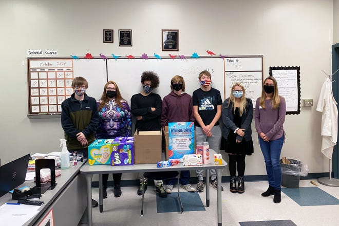 Herkimer-Fulton-Hamilton-Otsego BOCES Valley Pathways in Technology Early College High School Student Council members conducted a drive to collect hygiene items to donate to local shelters through the United Way. From left, VP-TECH Student Council Sophomore Representative Nick Seifried, Treasurer Jenna Lyman, Secretary Flare Livingston, President Connar Dibble, Vice President Andrew Doolittle, Senior Representative Holly Allen and Melinda Green, an architect with SMSA Architects who is a VP-TECH mentor.