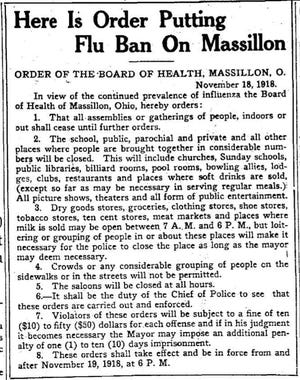 Massillon announced a citywide ban for public gatherings and businesses on Nov. 18, 1918, in the Evening Independent during the Spanish flu pandemic.