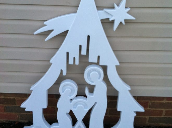 The Stow-Hudson Knights of Columbus are again offering this outdoor nativity scene, featuring the Holy Family within a Christmas tree.